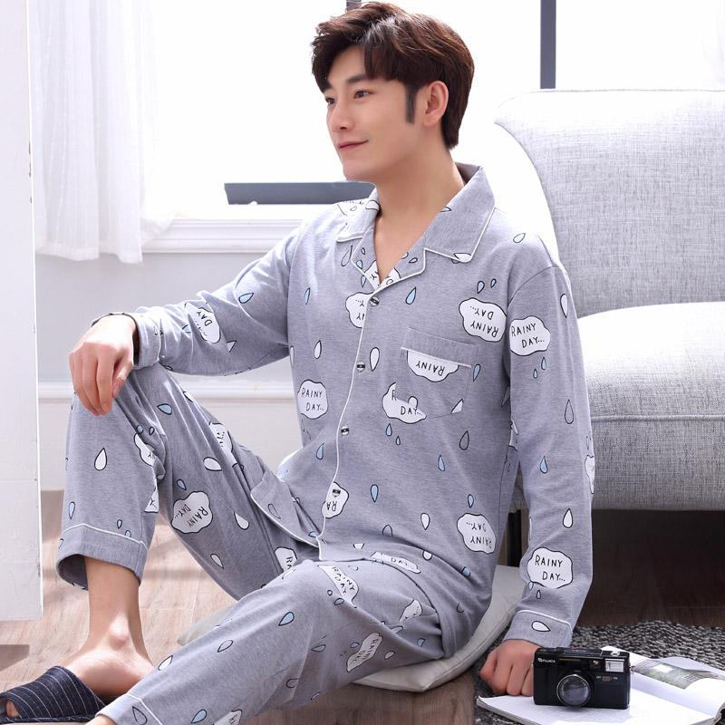 yidanna Men Pajamas Set Letter Button Simple Nighty Plus Size Cotton Nightwear Sleepwear Sleep Long Sleeved Clothing Autumn