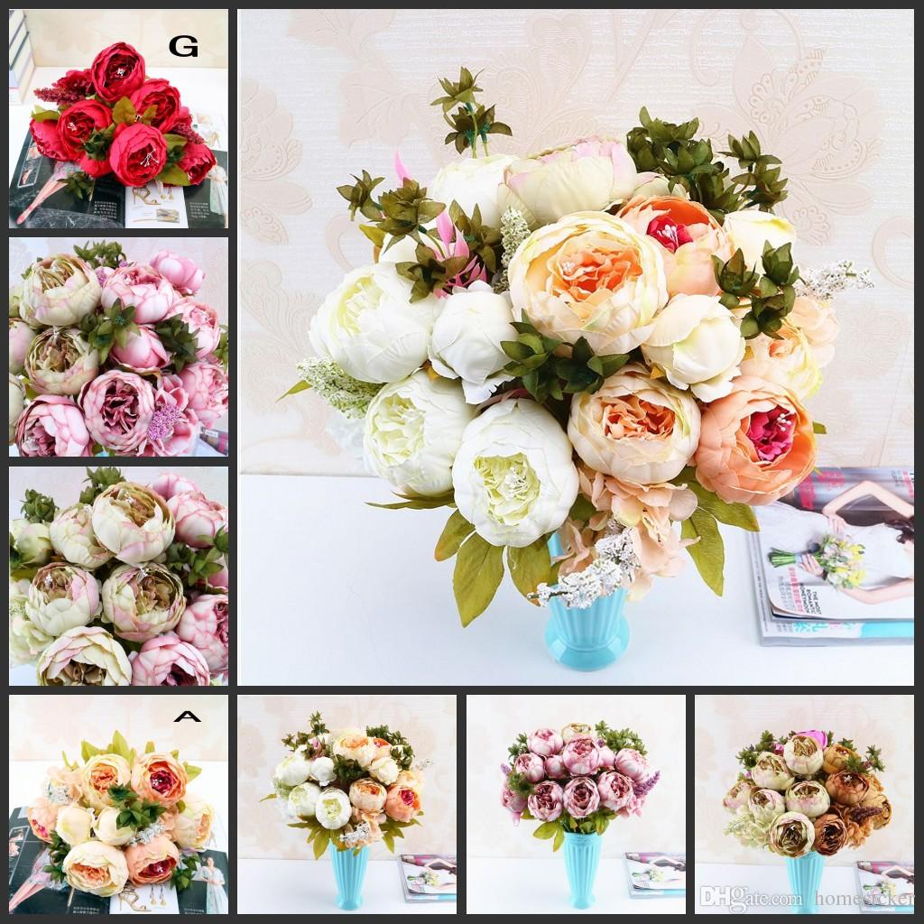 Online Cheap Peony Bouquet Artificial Peony Silk Flowers Fake Leaf