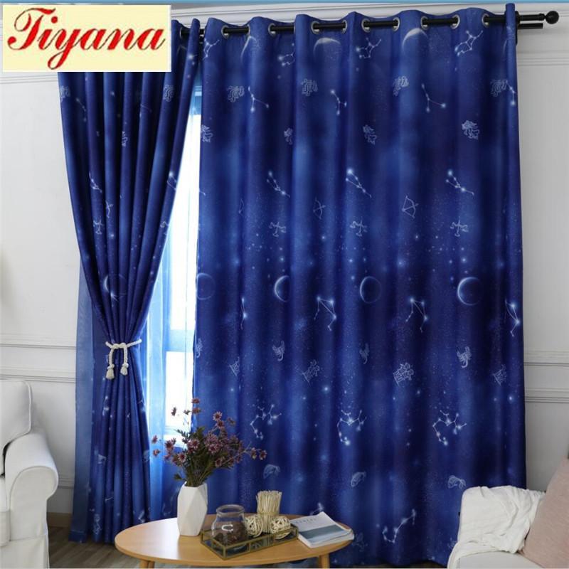 Großhandel Koreanische Blau Wohnzimmer Star Vorhänge Blackout Vorhänge Für  Schlafzimmer Perspektive Fenster Mond Vorhang Luxus Tüll Sheer Su404 * 30  Von ...