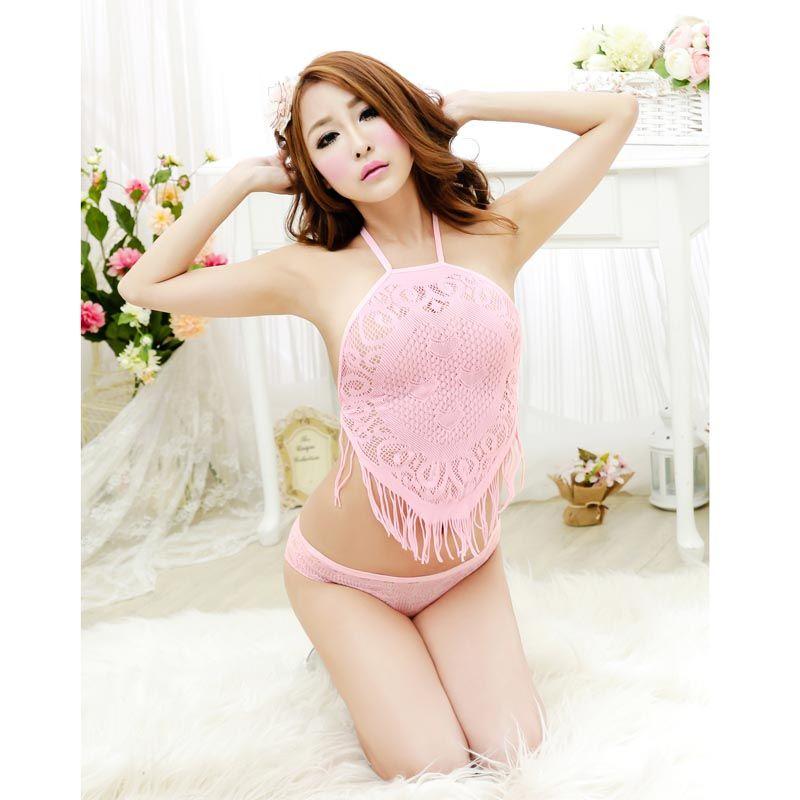Hollow Transparent Lace Lingerie Pajamas Suit Women Nightwear ...