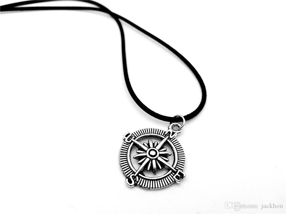 Vintage Steampunk Vegvisir Compass Necklace Nautical Navy Seaman Sailor Anchor Rudder Leather Rope Necklaces for Find Direction