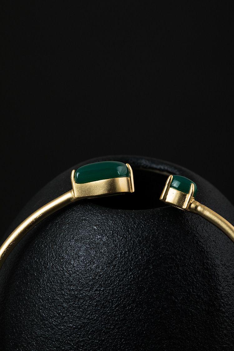 New fashion 925 argento intarsiato calcedonio verde braccialetto femminile argento personalizzato braccialetto semplice processo elettrolitico 14K oro