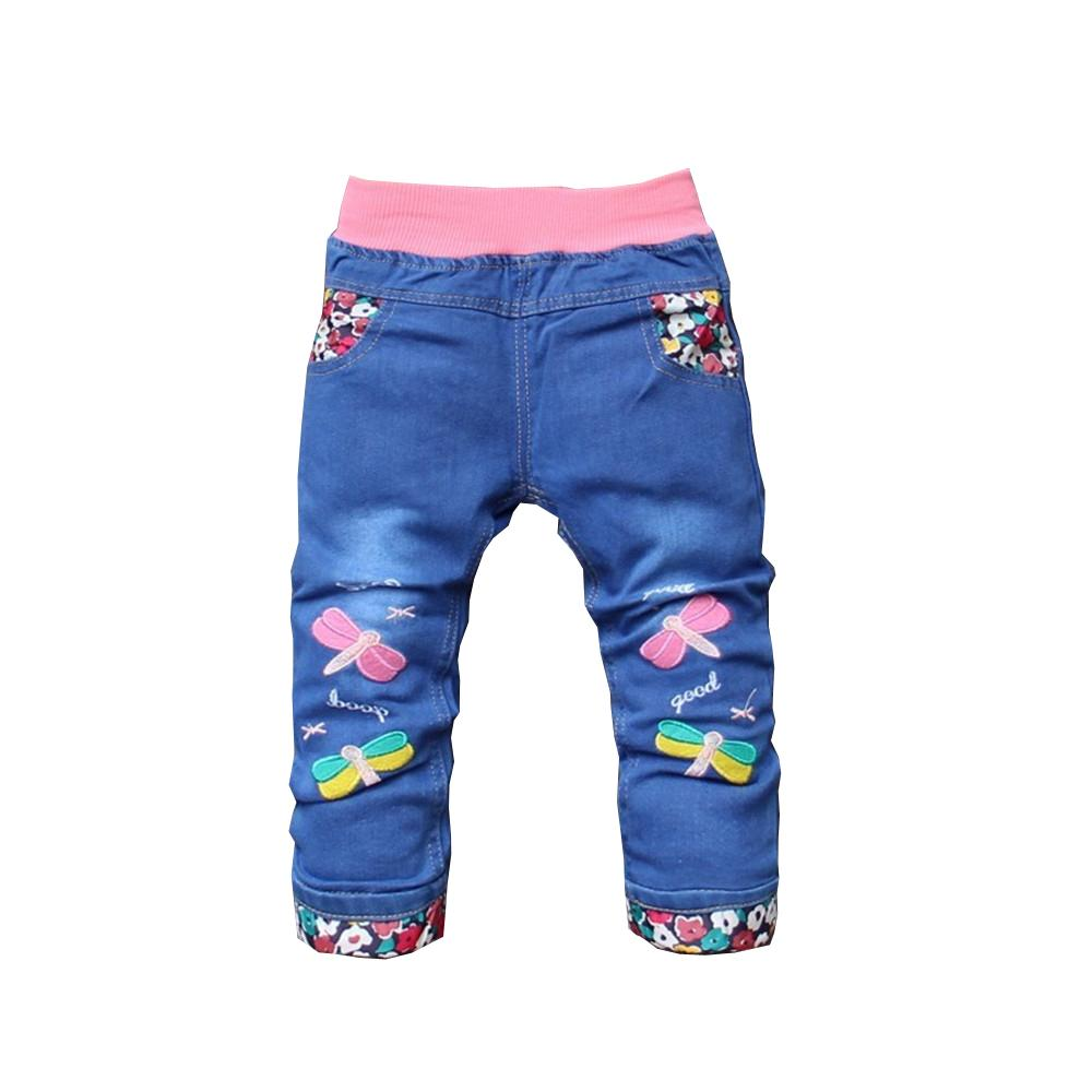 3ea7b5363d75f BibiCola 2017 New Spring Autumn Children Kids Jeans Girl Elastic Waist  Straight Cartoon Pattern Denim Pants Baby Girls Trousers Boys Light Blue  Skinny Jeans ...