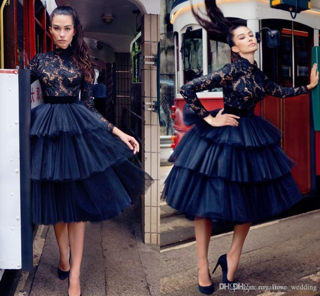 262dcc1f23614 Elegant High Neck Prom Dresses A Line Illusion Lace Long Sleeve Ruffles Tulle  Knee Length Homecoming Dresses Navy Blue Short Evening Gowns Prom Dresses  ...