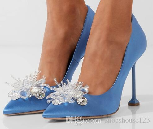 c7f06fa57 Pink Blue Silk Stiletto Heels Women Shoes Bling Crystal High Heels Bridal  Wedding Shoes Sexy Pointed Toe Women Pumps Wedge Boots Comfortable Shoes  From ...