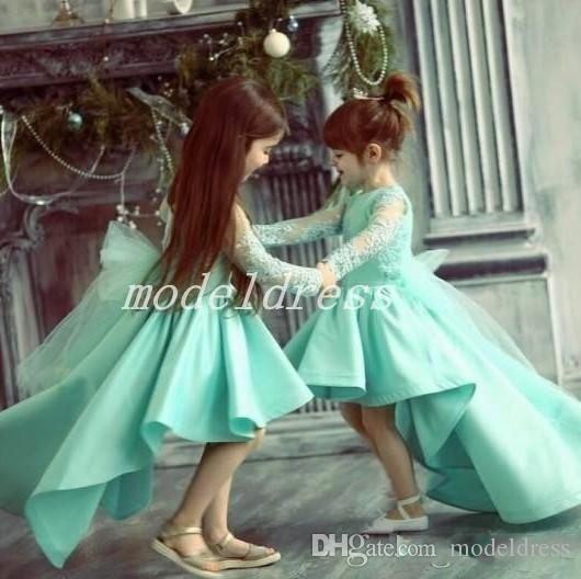 e6ffeef4c Mint Green High Low Flower Girl Dresses For Weddings Long Sleeve Lace Top  Child Birthday Party Gowns Cosplay Wear Girls Pageant Dress Flower Girl  Dresses ...