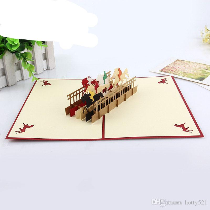 3D Laser Cut Business Invitations Kirigami Greeting Card Cubic Cartoon Horse Birthday Gifts Cards Free Christmas Online Digital