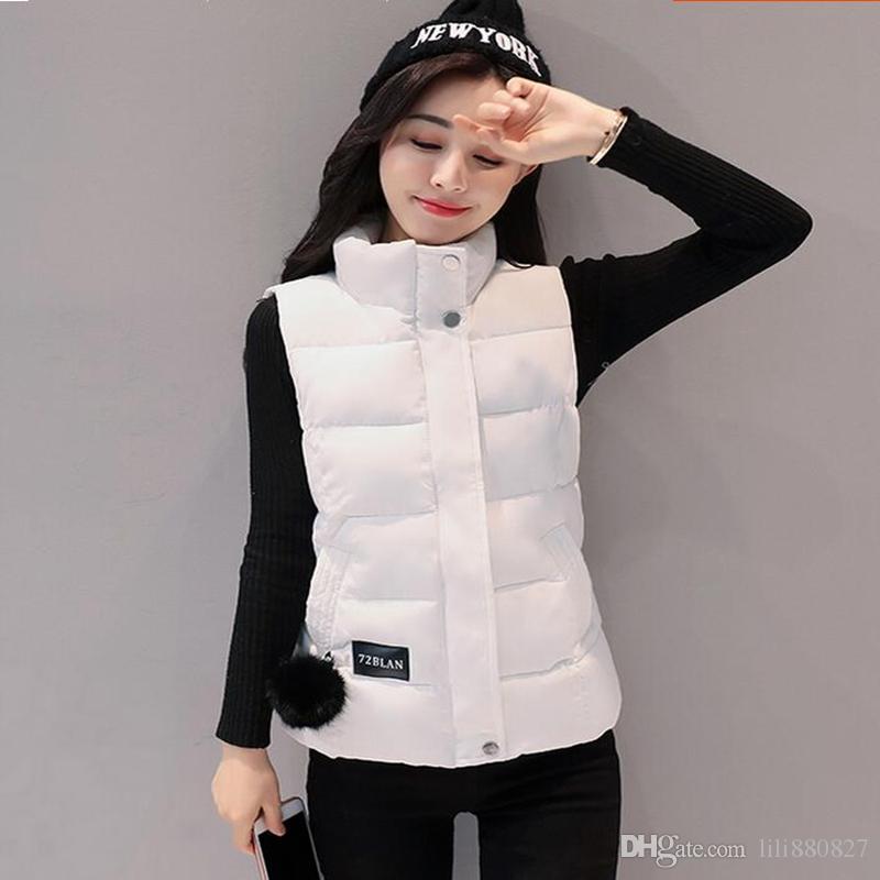 bbef85e964f 2019 Women Winter Vests 2018 New Lightweight Slim Short Vest Cotton Padded  Jacket Sleeveless Female Collar Waistcoat From Lili880827, $19.98 |  DHgate.Com