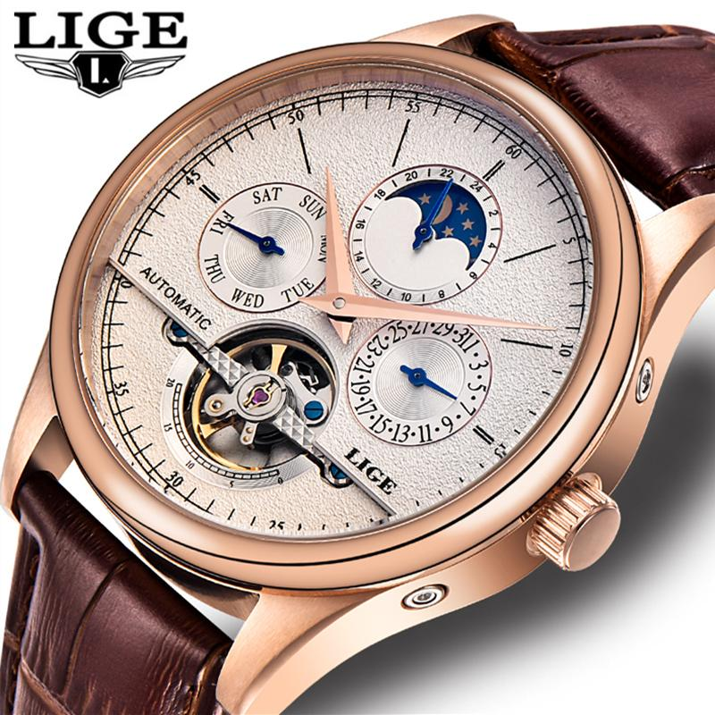 703043026e6 LIGE Mens Watches Top Brand Luxury Clock Automatic Mechanical Watch ...