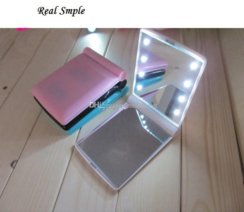 Portable Led Lights Makeup Mirror with 8 LED Lights Lamps Cosmetic Folding Portable Compact Pocket Hand Mirror Make Up Under Lights