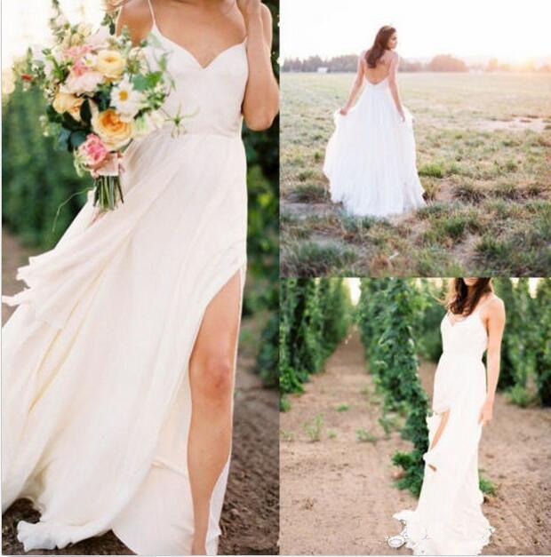 e2d6814161 Discount Simple Summer Beach Wedding Dresses Simple Chiffon Spaghetti Strap  Sexy Side Split Bridal Gown Cheap Vestido Ball Gown Dresses Bridal  Collection ...