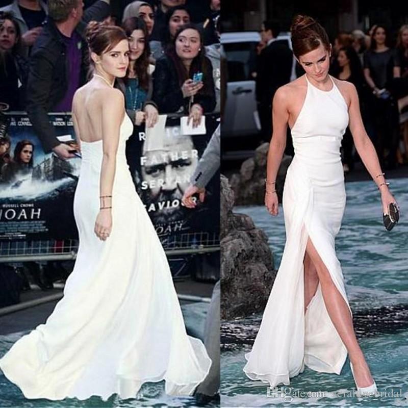 2018 Nueva Elegante Emma Watson Celebrity Dresses Halter Neck Backless Gasa Blanca Side-Split palabra de longitud elegante Vestidos de noche Vestidos de baile