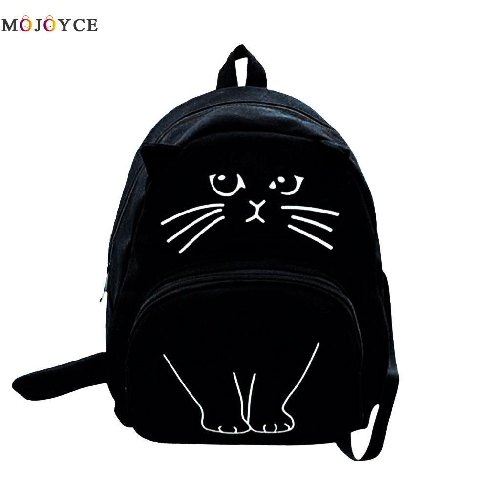 8566f202c399 Lovely Cat Printing Backpack Women Canvas Backpack School Bags For Teenagers  Ladies Casual Cute Rucksack Bookbags Girl Backpacks Toddler Backpack From  Yera