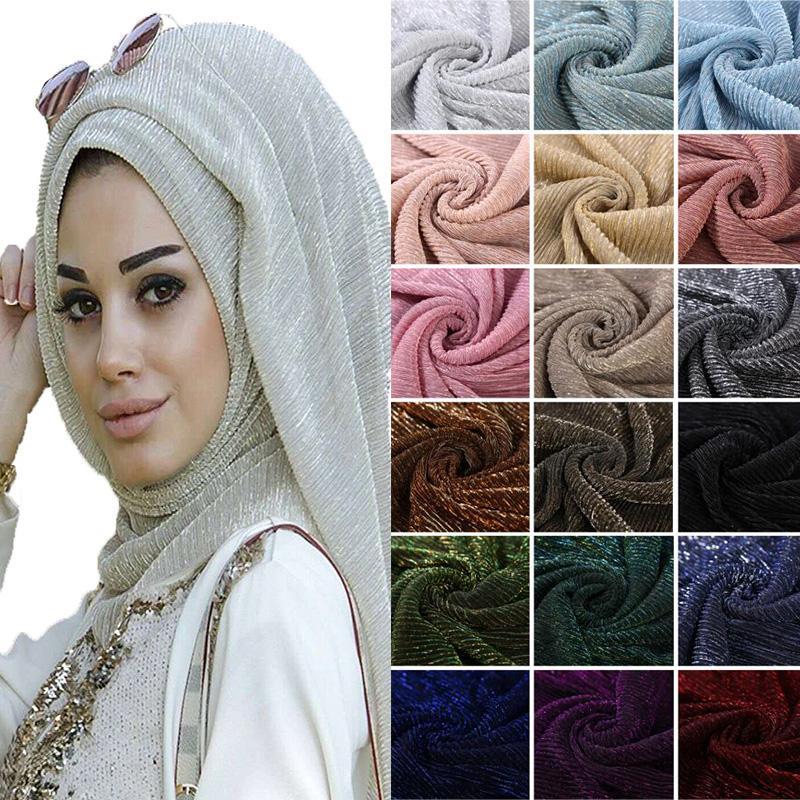 ef4ae487173 Acheter Hot Shimmer Plissé Hijab Écharpe Plaine Brillant Brillant Châle Mode  Musulman Hijabs Femmes Maxi Voiles Châles Islamic Écharpe De  11.92 Du  Duoyun ...