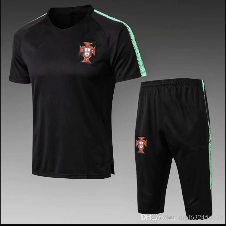 reputable site b69b9 bd1ea Portugal 2018 World Cup tracksuit soccer jersey Training suit soccer wear  short slevees 3/4 pants 2018 RONALDO football shirt KIT