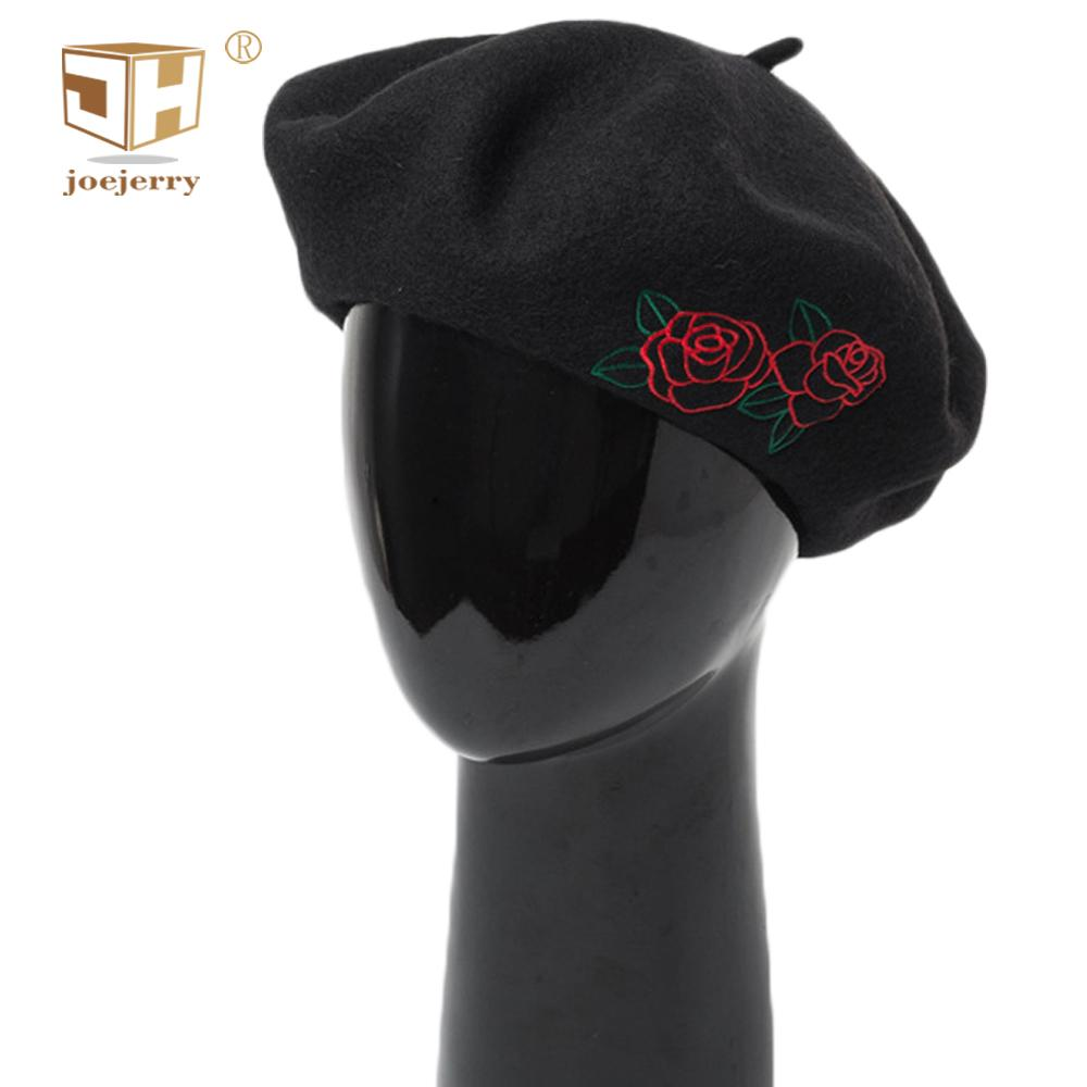 Compre Lã Joejerry Boina Francesa Mulheres Rosa Vermelha Chapéu ... 1373f0f12e5