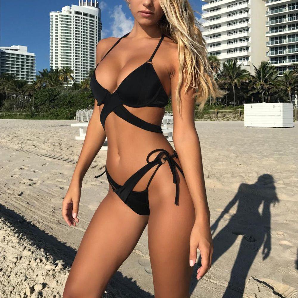 Bikini 2018 Sexy Swimwear Women Swimsuit Bikini Set Cross Bandage ... a6a290e41