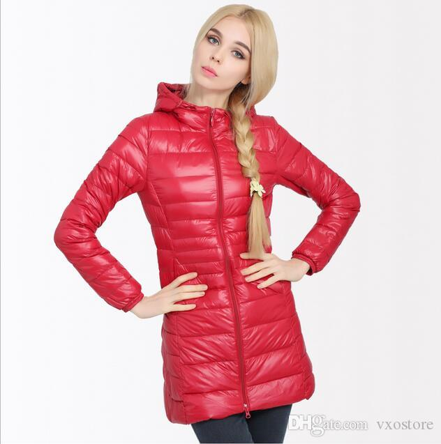 19c16f4dd15f New Brand Winter Warm Coat Women Ladies Long Ultra Light 90% White Duck  Down Jacket Women s Hooded Parka Female Jackets Women Down Jacket Down Coat  White ...
