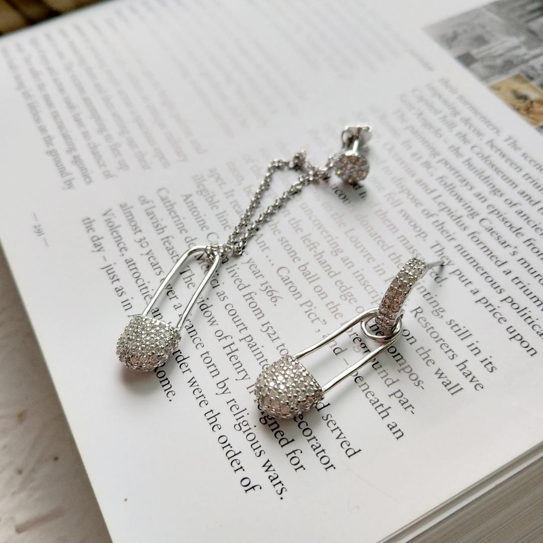da618441124f2 2019 L&P Real Designer 925 Silver Sterling Silver Design Asymmetrical  Bright Pin Pin Earrings Wholesale From Chunyushi, $84.83 | DHgate.Com