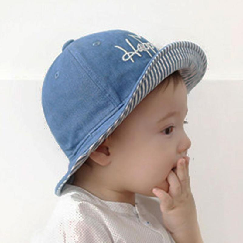 Spring Summer Fisherman Cowboy Hat Infant Baby Boys Girls Denim Caps Letter  Happy Embroide Sun Hat Canada 2019 From Newyearable a84464e2409