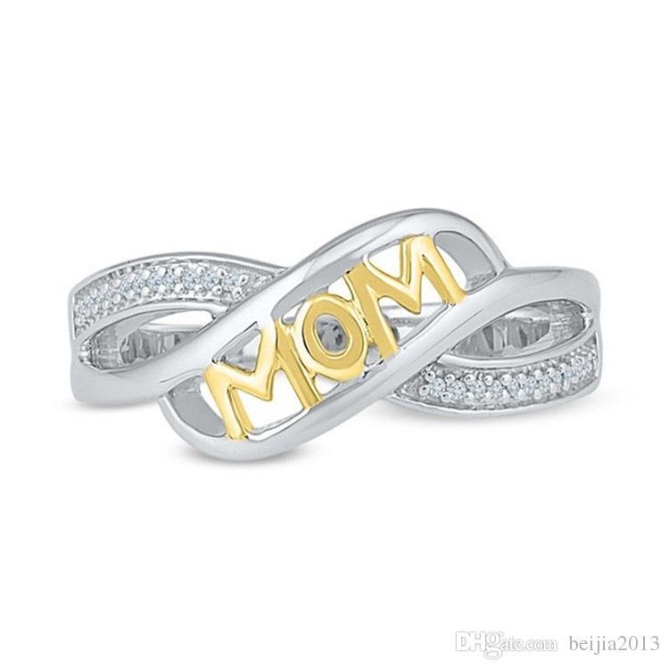 Neue Kupfer Liebe Mutter Ring Mutter Geschenk Strass Brief Herz Rose Gold Silber Farbe Frauen Schmuck Muttertagsgeschenk