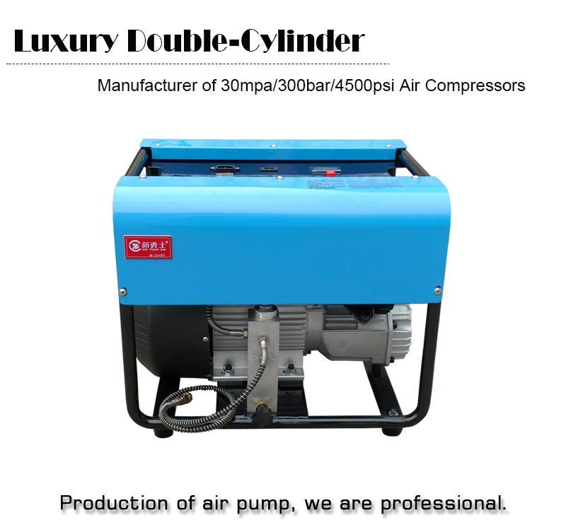 4500PSI 300bar 30mpa função de parada automática Ajustável Elétrica duplo compressor de ar do Cilindro para o enchimento de gás do tanque de ar PCP
