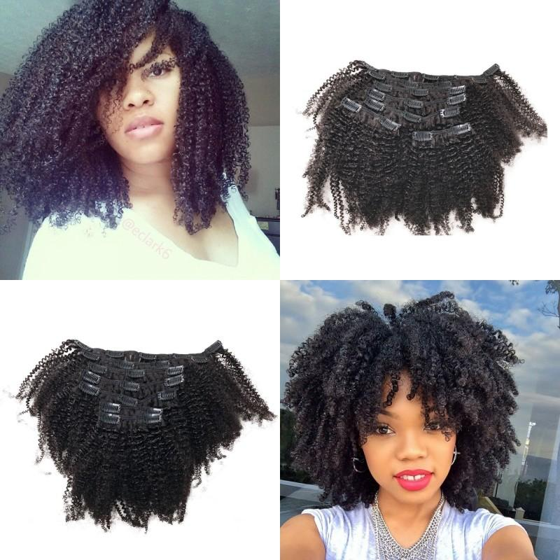 Vietnamese Human Hair Clip Ins Kinky Curly Clip In Hair Extensions