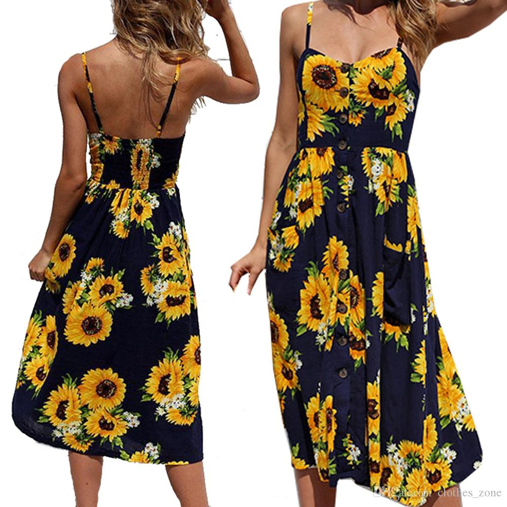 85513fbe73 Office Dresses With Sunflower Print Spaghetti Strap Pocket Detail Button Up  Cami Summer Work Long Dress For Women Women Dressed Dress As A Woman From  ...
