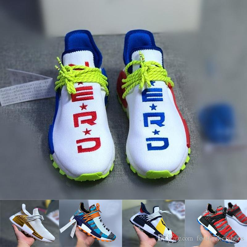2018 pharrell williams nmd raza humana Afro Pack Mujeres Hombres Zapatillas deportivas NERD BBC Holi Trail pharell williams nmds carreras humanas Entrenador