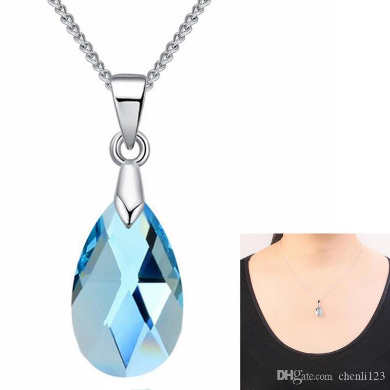 Wholesale fashion blue crystal water drop pendant necklace crystal wholesale fashion blue crystal water drop pendant necklace crystal from swarovski elements women high quality necklace fashion jewelry 27377 gold circle aloadofball Images