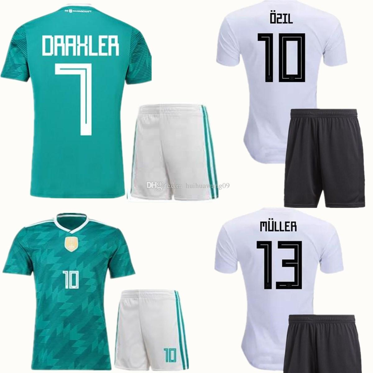 c2af89fa8 2019 2018 World Cup Soccer Sets OZIL MULLER GOTZE KROOS REUS Football Kit  GerMANy Home Away Green Soccer Set Adults Thai Quality Wears From  Huihuawang09