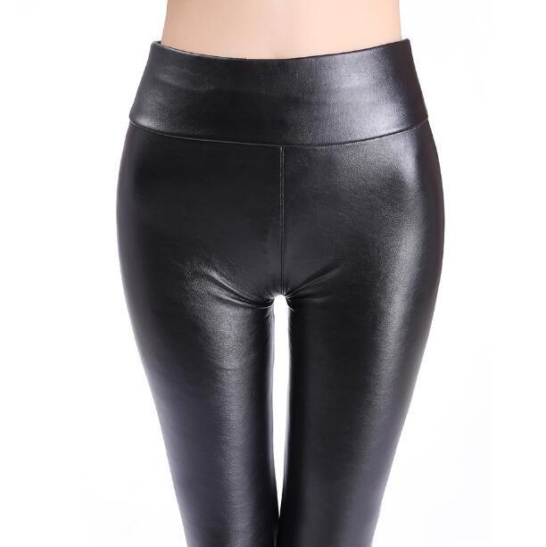 6af1d772ba9320 2019 2018 Plus Size Leather Leggings Women High Waist Leggings Stretch Slim Black  Legging Fashion PU Leather Pants Women High Quality Hotsale From Netecool,  ...