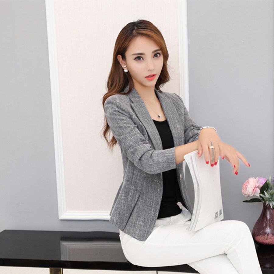 d3c2440cbe2 2019 Grey Blazer Women Plus Size Office Jacket Blazer Suit Cardigan Slim  Fit TEkose Ceket Casual Work Office Wear Sexy KC5C068 From Pingpo