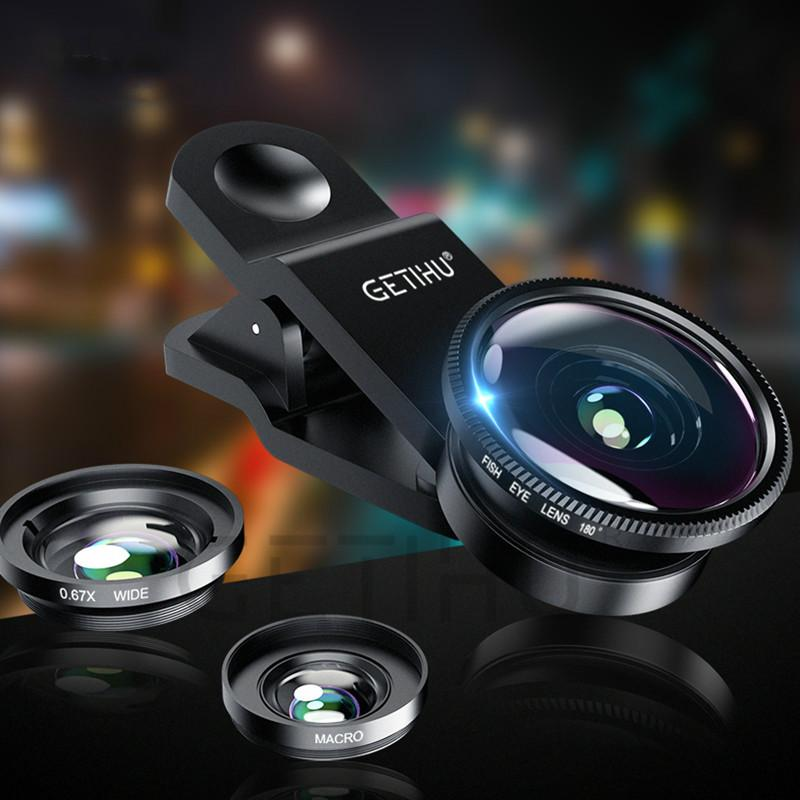3 in 1 Wide Angle Macro Fisheye Lens Kit Clip Smartphone Mobile Phone  lenses Fish Eye for iPhone 6 6s 7 s Plus Camera Lentes