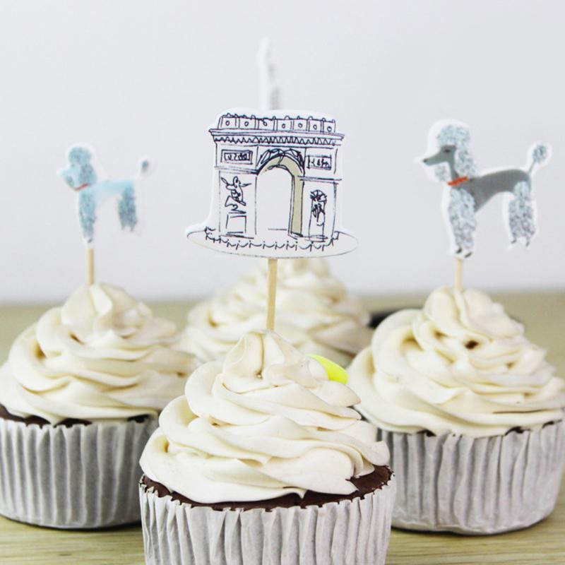 Grosshandel 24 Stucke Paris Eiffelturm Cupcake Topper Pick Hochzeit