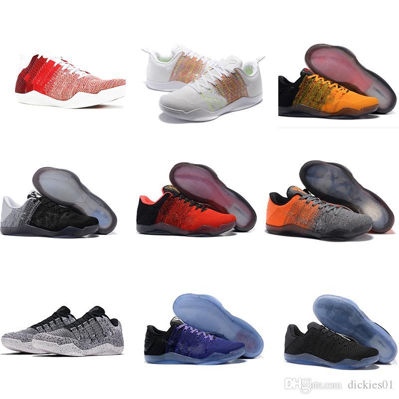 huge discount 552f2 d24c8 Großhandel Nike Kobe 11 Elite Low Günstige Sale Kobe 11 Low Basketball  Schuhe Sport Für Top Qualität Männer KB 11s Mentalität 3 3M Schwarz Weinrot  Training ...