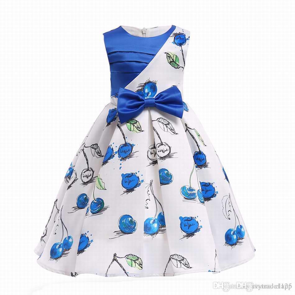 47e56a56a INS Girl Princess Dress Cherry Printed Patchwork Style Summer Petal ...