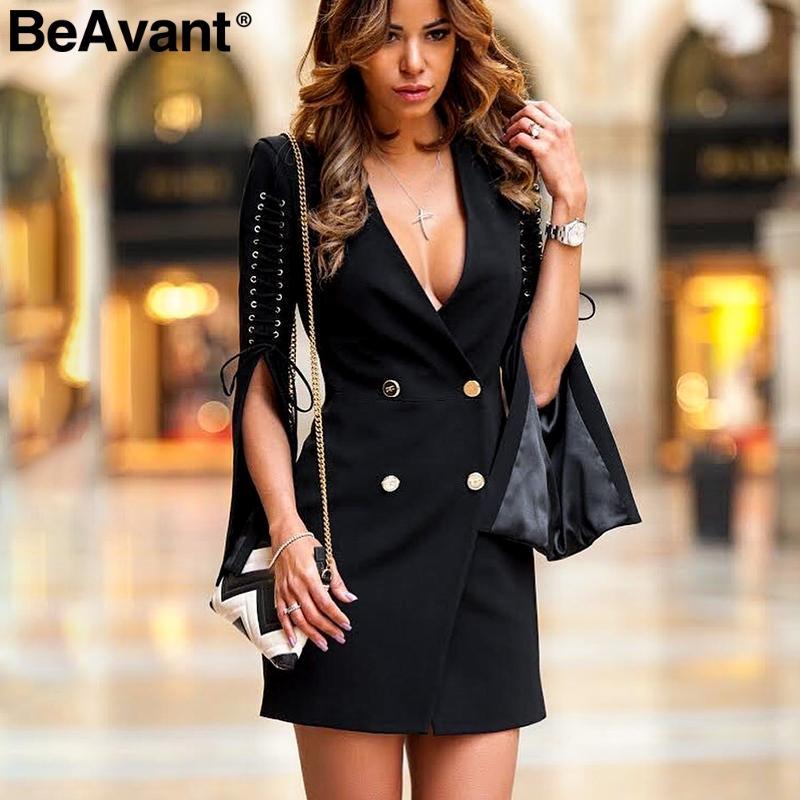 Acheter BeAvant Split Manches Évasées Robe De Blazer Noir Femmes Élégantes Robe  Courte OL 2018 Sexy Lace Up Automne Hiver Robes Robes De  37.88 Du Topcoat  ... 3df475f39821