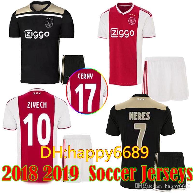 e94de7f11e9aa Compre 2018 2019 Ajax FC Hombres Kits De Camisetas De Fútbol 18 19 KLAASSEN  FISCHEA BAZOER MILIK Camiseta De Uniformes De Fútbol De Casa AJAX Hombres  ...