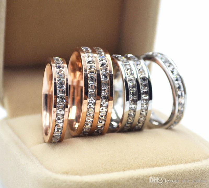 Stainless Steel Rings For Women Single/Double Two Rows of Diamond Rose Gold/Silver/Gold Plated Wedding Rings For Lady With Jewely BOX