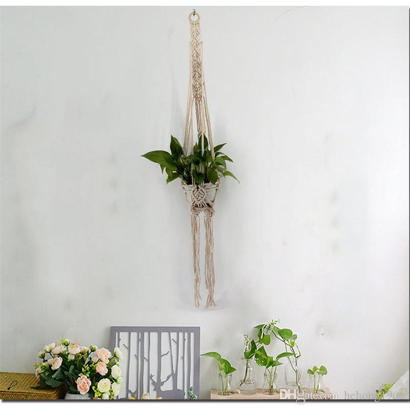 Bohemia Pot Wall Decorate Flower Planters Natural Style Handmade Pendant Weave Tapestry Botany Hanging Basket Tassels Net 17 5jja V