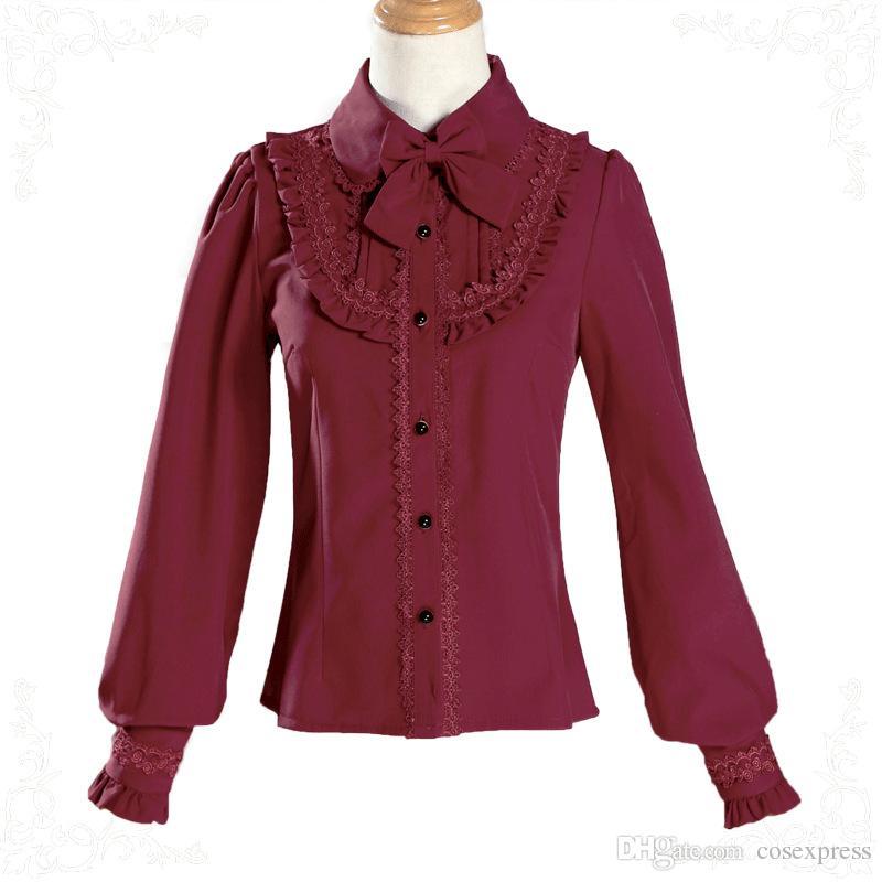 25d2baa9b9e72 2019 Gothic Original LOLITA Red White Black Long Lantern Sleeve Chiffon  Shirt Women Summer Blouse Costumes For 2018 From Cosexpress