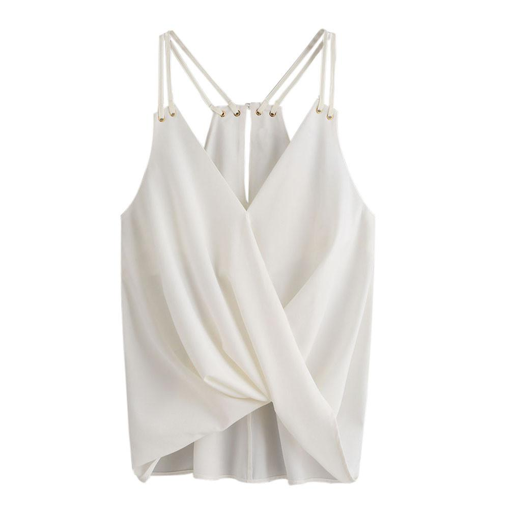 e87a4c35e3ec0 2019 Women Summer White Vest Elegant Sleeveless Backless Tank Top Ladies  Irregular V Neck Chiffon Shirt Femininas  VE From Fafachai10