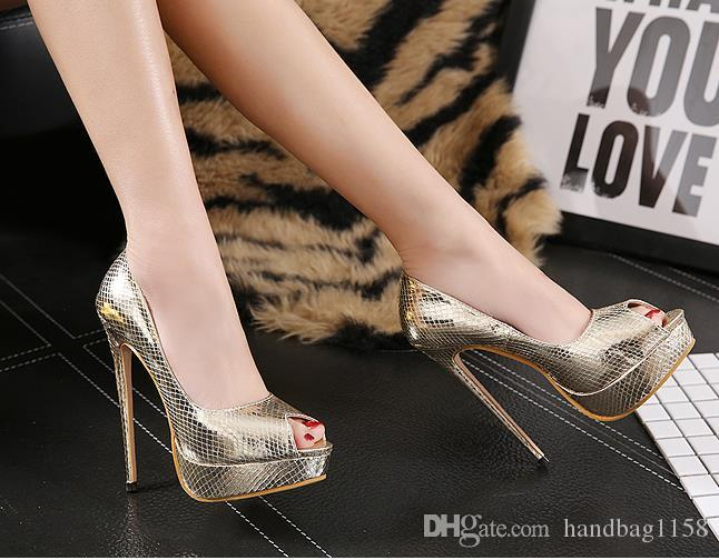 fashion sexy platform peep-toe pumps party women shoes serpentine high heels wedding shoes size 35 to 39