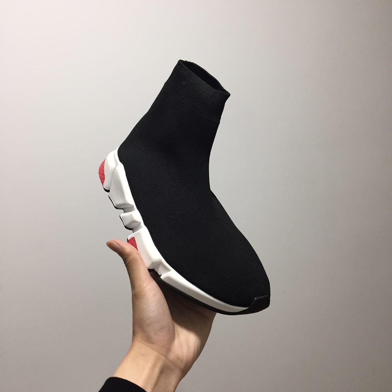 2020 Socken-Schuh Speed Trainer Turnschuhe Speed Trainer Socken-Rennen Schwarze Schuhe Männer und Frauen Nizza Schwarze Schuhe 36-45