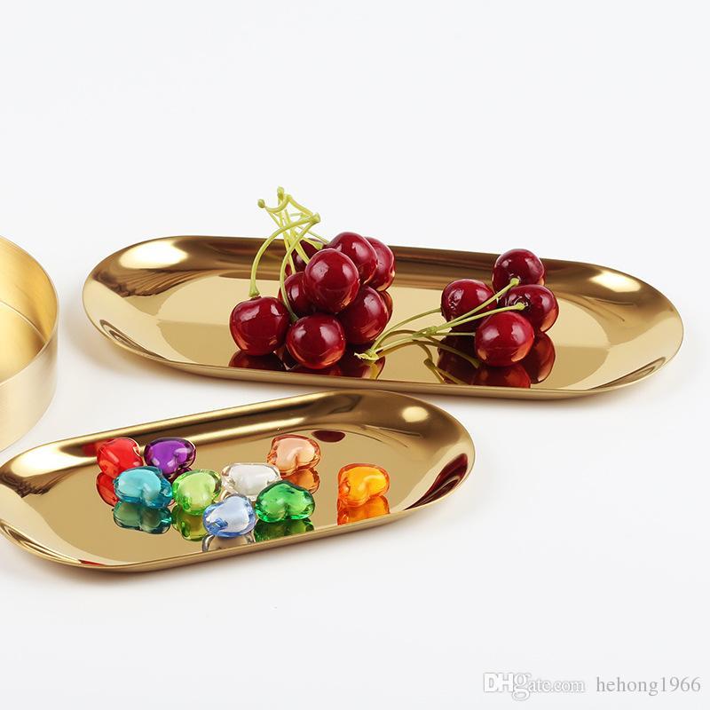 Acquista Piatti Snack Vassoio Scrivania Da Cucina Design Unico Decorazione  In Acciaio Inox Fun Design Ellipse Colore Metallo Piatto Gioielli New 11ys6  ...