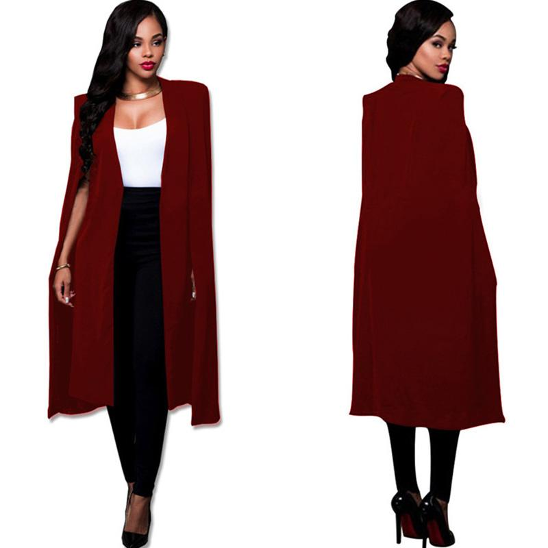 1ef5d700e6d27 2019 S 4XL Fashion Cloak Cape Blazer Women Autumn Winter Coat Lapel Split  Long Sleeve Casual Suit Jacket Outerwear Workwear Plus Size From Silan