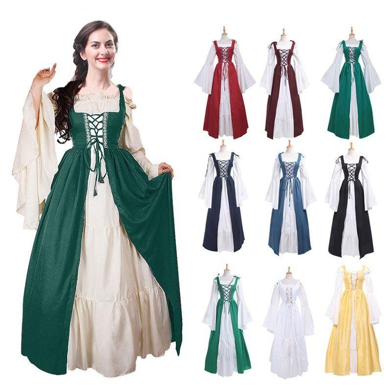 Vintage Halloween Oktoberfest Beer Girl Costume Maid Wench Germany Bavarian  Plus Size Medieval Dress Dirndl