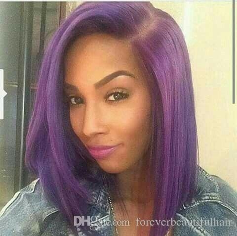 New Fashion Purple Color Glueless Full Lace Human Hair Wigs Peruvian Virgin Hair Ombre Lace Front Wig For Black Women