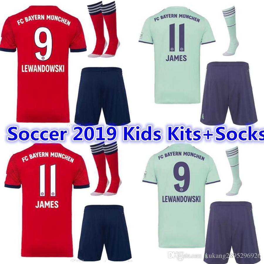 eee5e1d36b8 2019 18 19 Bayern Munich Away Champions League Maillot De Foot Kids  Kits+Socks TOLISSO 24 LEWANDOWSKI VIDAL COATA ROBBEN Maillots De Football  From ...